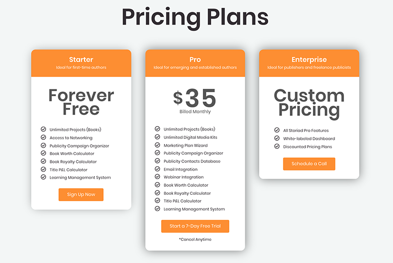 Storiad Pricing Plans